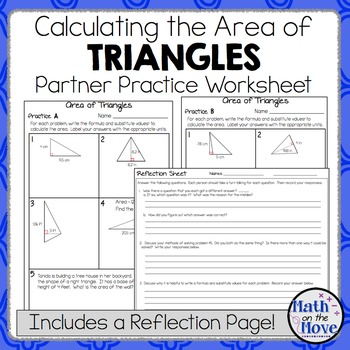 Area of Triangles - Partner Practice Worksheet (with a Ref