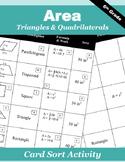 Area of Triangles & Quadrilaterals Card Sort Activity