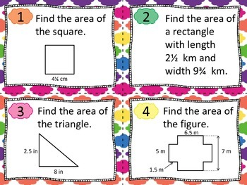 Area of Triangles, Quadrilaterals and Compound Figures Task Cards 6.G.1