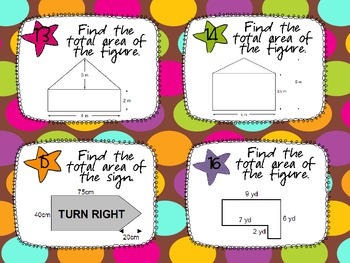 Area of Triangles, Quadrilaterals, and Compound Figures Task Cards CCSS 6.G.1