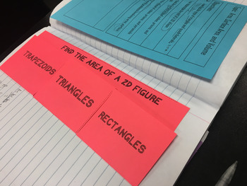 Area of Triangles, Rectangles, and Trapezoids Foldable Notes