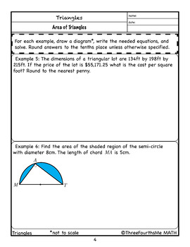Area of Triangles: Scaffolded Notes