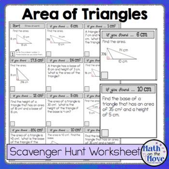 Area of Triangles - Scavenger Hunt Worksheet