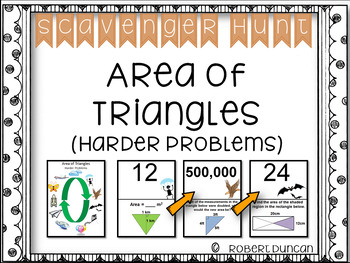 Area of Triangles Scavenger Hunt- Harder Problems