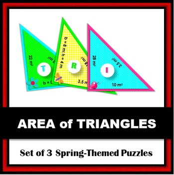 Area of Triangles | Set of 3 Spring-Themed, Triangle-Shape