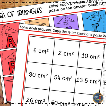 Area of Triangles Solve, Color, Cut