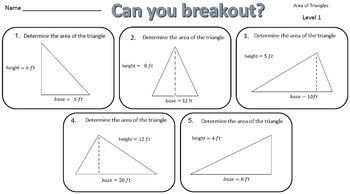 Area of Triangles – Two Breakout Activities!