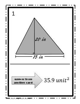 Area of Triangles Walk Around Activity Lv 1~SAS~Heron's~Pythagoreans~HS Geometry