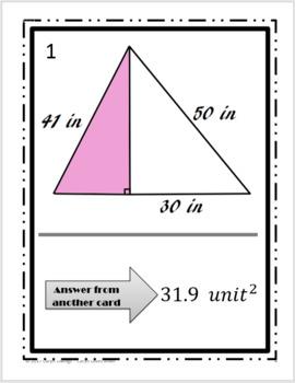 Area of Triangles Walk Around Activity~SAS~Heron's~Pythagorean's~HS Geometry