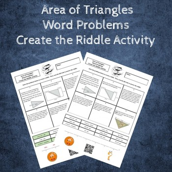 Area of Triangles Word Problems Create the Riddle Activity
