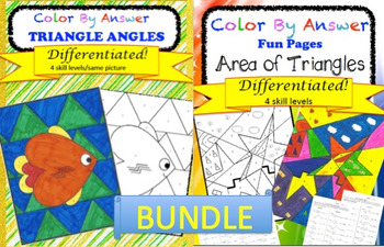 Area of Triangles and Angles of Triangles Color by Answer Differentiated BUNDLE