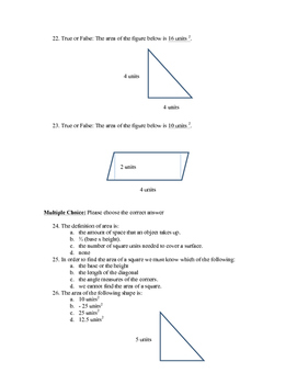 Area of Triangles and Parallelograms