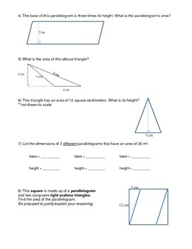 Area of Triangles and Parallelograms Practice worksheet
