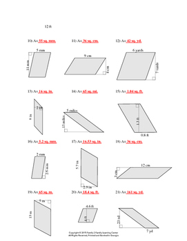 area of triangles and parallelograms worksheet 1 tpt. Black Bedroom Furniture Sets. Home Design Ideas