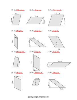 Area of Triangles and Parallelograms Worksheet #2