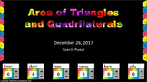 Area of Triangles and Polygons Review Game and Worksheet