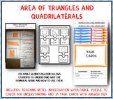 Area of Triangles and Quadrilaterals: Graphic Organizer-Foldable and Task Cards