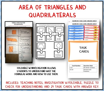 Area of Triangles and Quadrilaterals: Graphic Organizer-Fo