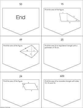 Area of Triangles and Quadrilaterals Ladder Activity