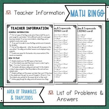 Area of Triangles and Trapezoids BINGO Math Game