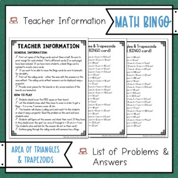 Area of Triangles and Trapezoids BINGO Math Game