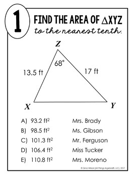 Area of Triangles (using Trigonometry) Math Lib