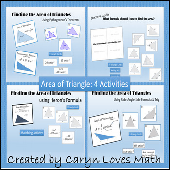 Area of Triangles~Bundle~4 Activities&Posters~SAS~Heron's~
