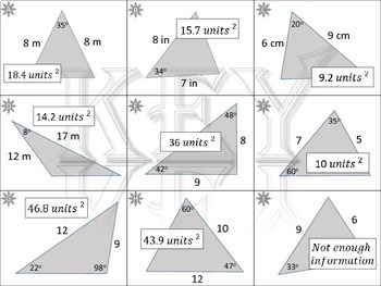 Area of Triangles~Bundle~4 Activities&Posters~SAS~Heron's~Pythagorean's Theorem