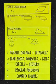 Area of Two-Dimensional Figures (Geometry Foldable)