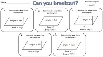 Area of Two-Dimensional Shapes Breakout Bundle – Perfect for Google Classroom!