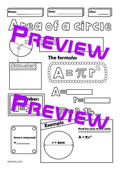 Area of a Circle BUNDLE Geometry Middle High School Math