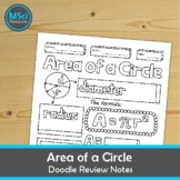 Area of a Circle Doodle Sheet Coloring Notes Geometry Test