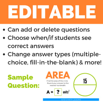 Area of a Circle - GOOGLE DRIVE ACTIVITY