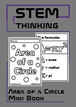 Area of a Circle Mini Foldable Book, Middle, High School Math, Geometry