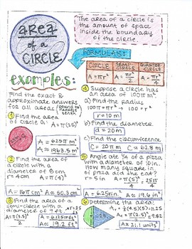 Area of a Circle Notes KEY