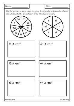 Area of a Circle Spinner Worksheets, Middle, High School Math, Geometry