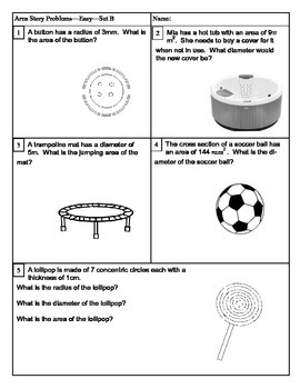 Area of a Circle Story Problems