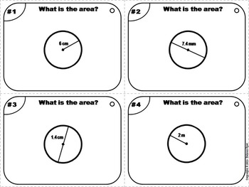 Area of a Circle Task Cards Practice Activity