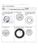 Area of a Circle Worksheet