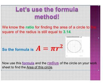Area of a Circle in a Snap of Time! (interactive games, video, Ppt Smart Notebk)