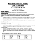 Area of a Cylinder, Prism, and Trapezoid Game Puzzle with