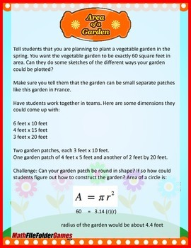Area of a Garden {Geometry Activity}