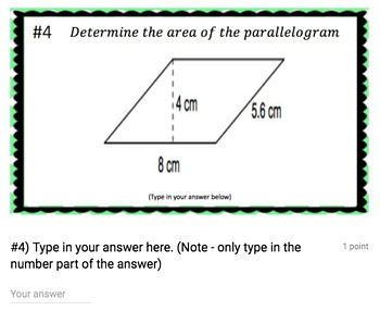Area of a Parallelogram (Google Form & Interactive Video Lesson!)