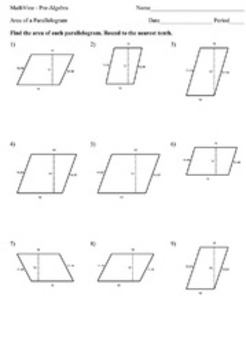 Area of a Parallelogram Worksheets by MathVine | TpT