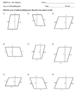 area of a parallelogram worksheets by mathvine teachers pay teachers. Black Bedroom Furniture Sets. Home Design Ideas