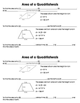 Area of a Quadrilateral Guided Notes