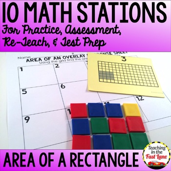 Area of a Rectangle Test Prep Math Stations