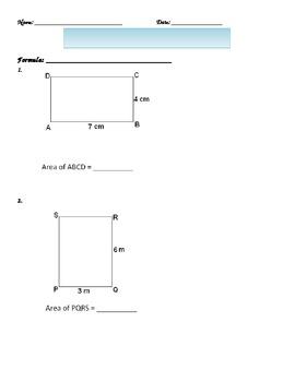 Area of a Rectangle Basic Worksheet