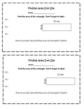 Area of a Rectangle Exit Slip