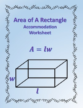 Area of a Rectangle: Formula Accommodations Template